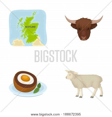 Territory on the map, bull s head, cow, eggs. Scotland country set collection icons in cartoon style vector symbol stock illustration .