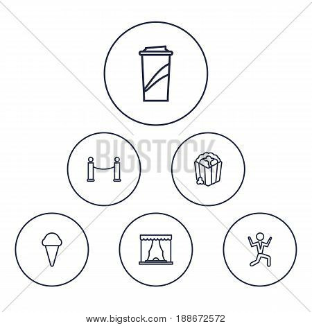 Set Of 6 Pleasure Outline Icons Set.Collection Of Barrier Rope, Ice Cream, Popcorn And Other Elements.