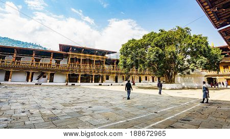 Punakha Bhutan March 03 2016 :The hardscape plaza and the Sri Maha Bodhi with the terrace building background with Bhutan temple in Asia PunakhaBhutan