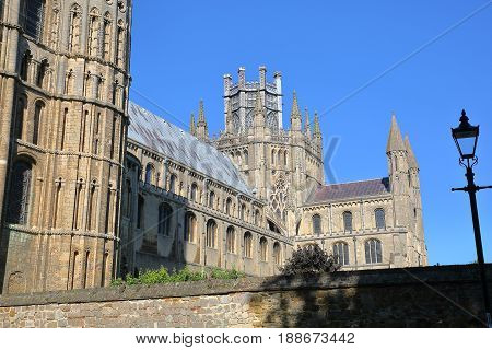 View of the South part of the Cathedral of Ely in Cambridgeshire, Norfolk, UK
