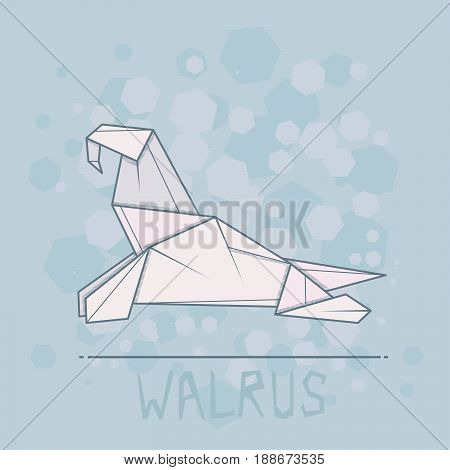 Vector simple illustration paper origami of walrus.