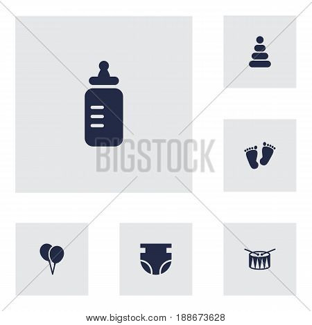 Set Of 6 Kid Icons Set.Collection Of Toy, Barrel, Trace And Other Elements.