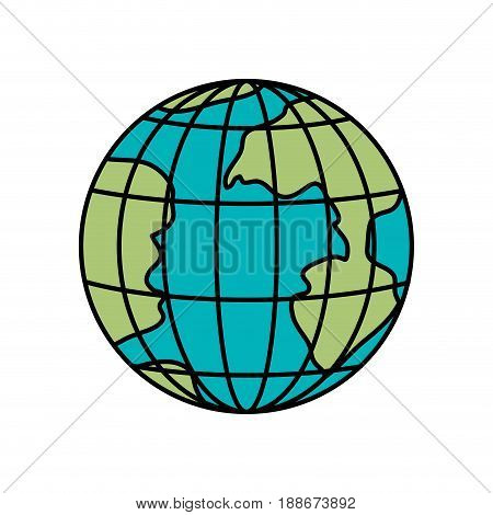 colorful silhouette of earth globe with meridians and parallels vector illustration