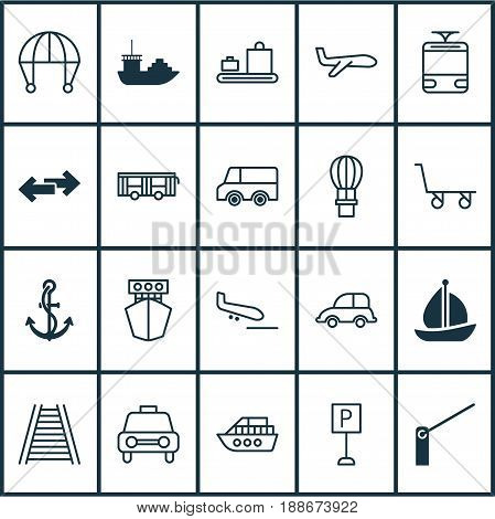 Transport Icons Set. Collection Of Railroad, Flight Basket, Air Transport And Other Elements. Also Includes Symbols Such As Roadsign, Air, Cargo.