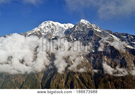 Mountain Landscape and cloud in Himalaya. Annapurna region, Nepal, Mardi Himal track.