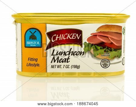 Winneconne WI - 16 May 2017: A can of Britol Brand chicken luncheon meat on an isolated background.