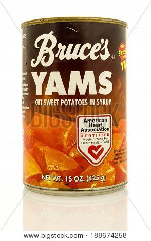 Winneconne WI - 16 May 2017: A can of Bruces's Yams on an isolated background.