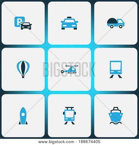 Transportation Colorful Icons Set. Collection Of Caravan, Cab, Parking And Other Elements. Also Includes Symbols Such As Taxi, Sea, Trolley.