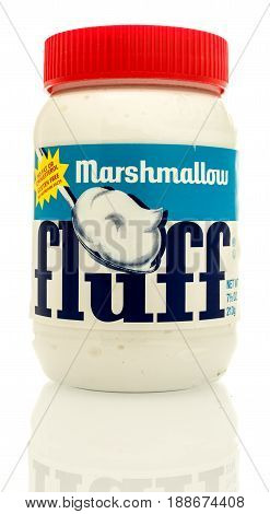 Winneconne WI - 16 May 2017: A jar of Marshmallow fluff on an isolated background.