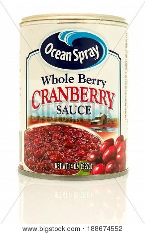 Winneconne WI - 16 May 2017: A can of Ocean Spray whole berry cranberry sauce on an isolated background.