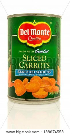 Winneconne WI - 16 May 2017: A can of Del Monte sliced carrots with reduced sodium on an isolated background.