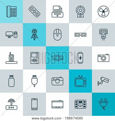 Gadget Icons Set. Collection Of Photographing, Work Phone, Telephone And Other Elements. Also Includes Symbols Such As Photo, Switch, Telephone.