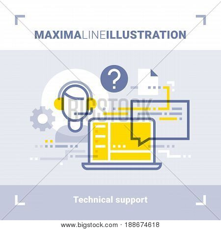 Concept of online tech support and call center. Maxima line illustration. Modern flat design. Vector composition