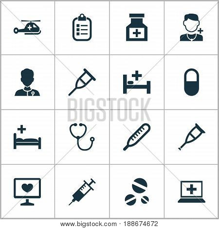 Antibiotic Icons Set. Collection Of Polyclinic, Diagnosis, Mercury And Other Elements. Also Includes Symbols Such As Medical, Clinic, Physician.