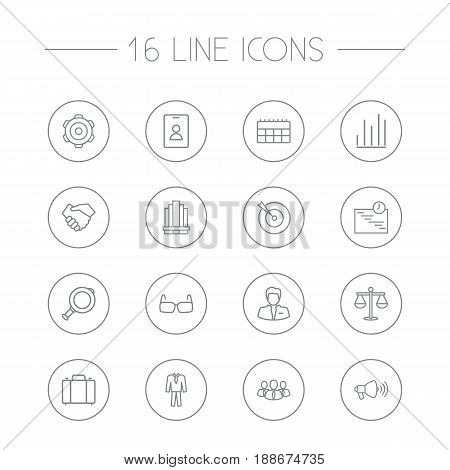 Set Of 16 Business Outline Icons Set.Collection Of Suit, Businessman, Magnifier And Other Elements.