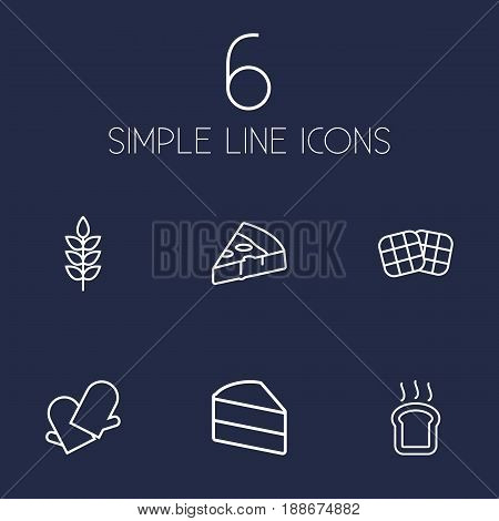 Set Of 6 Pastry Outline Icons Set.Collection Of Pizza, Cake, Gloves And Other Elements.