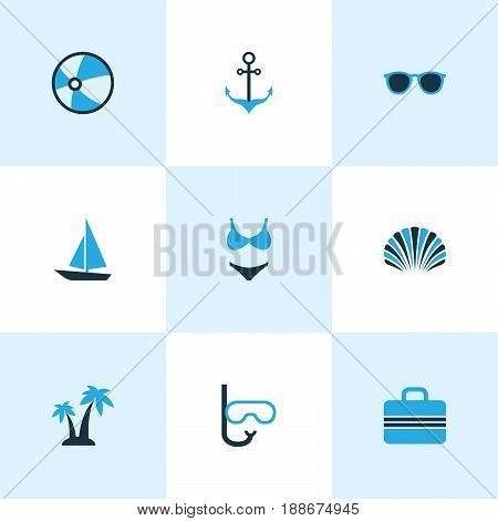 Sun Colorful Icons Set. Collection Of Boat, Suitcase, Sunglasses And Other Elements. Also Includes Symbols Such As Sunshades, Tube, Sea.