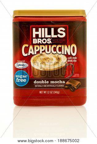 Winneconne WI - 16 May 2017: A box of Hills Bros cappuccino in double mocha flavor on an isolated background.