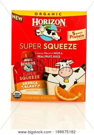 Winneconne WI - 16 May 2017: A box of Horizon super squeeze drink pouches in orange blast flavor on an isolated background.