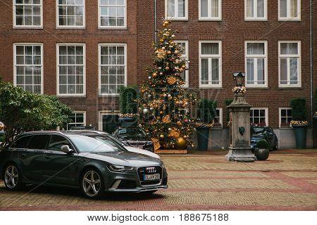 Amsterdam, The Netherlands, January 2, 2017: Decoration of the New Year tree. Celebrating Christmas Holidays