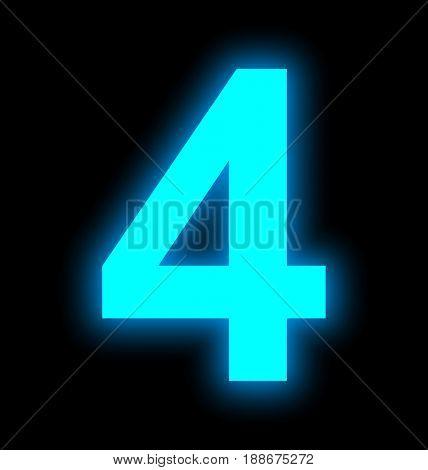 Number 4 Neon Light Full Isolated On Black