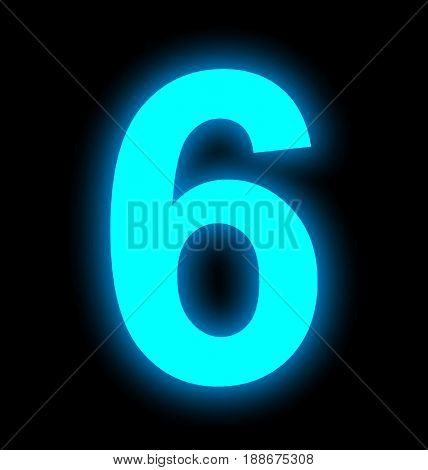 Number 6 Neon Light Full Isolated On Black