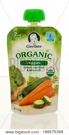 Winneconne WI - 16 May 2017: A pouch of Gerber oranic baby food on an isolated background