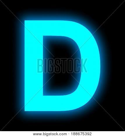 Letter D Neon Light Full Isolated On Black