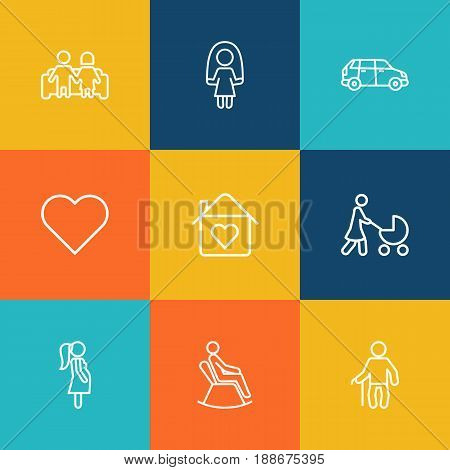 Set Of 9 Relatives Outline Icons Set.Collection Of Home, Soul, Couple And Other Elements.
