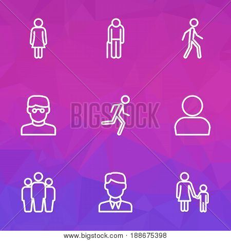 Person Outline Icons Set. Collection Of Graybeard, Smart Man, Female And Other Elements. Also Includes Symbols Such As Data, Company, Graybeard.