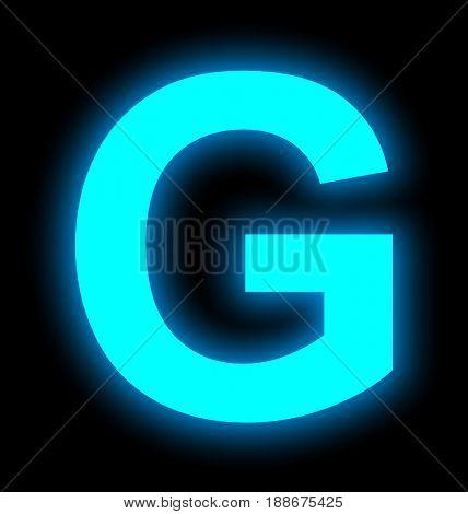 Letter G Neon Light Full Isolated On Black