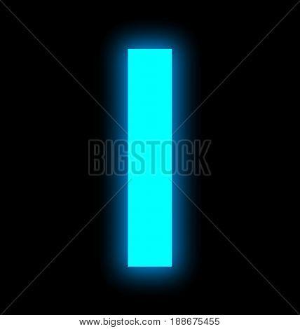 Letter I Neon Light Full Isolated On Black
