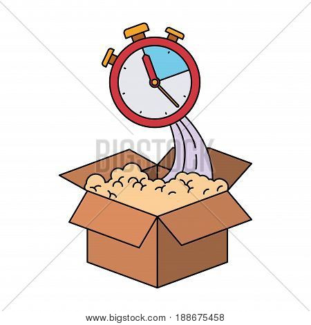 colorful silhouette of cardboard box and stopwatch vector illustration