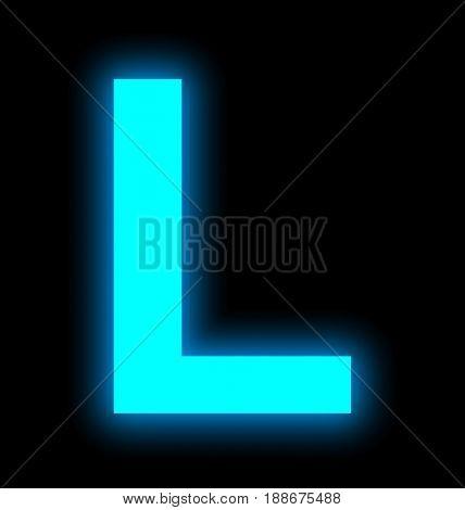 Letter L Neon Light Full Isolated On Black