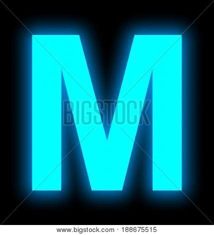 Letter M Neon Light Full Isolated On Black