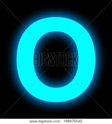 Letter O Neon Light Full Isolated On Black