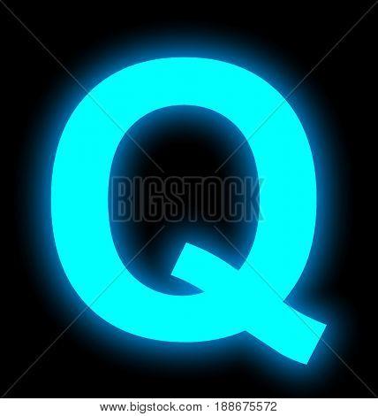 Letter Q Neon Light Full Isolated On Black
