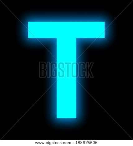 Letter T Neon Light Full Isolated On Black