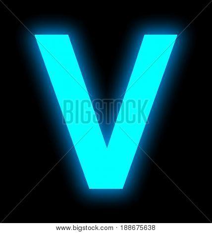 Letter V Neon Light Full Isolated On Black