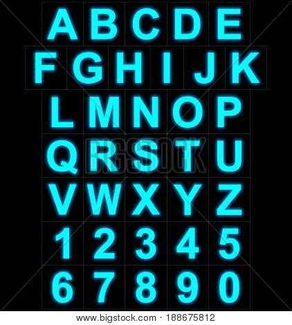 Letters And Numbers Neon Light Full Isolated On Black
