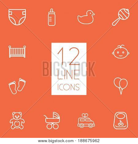 Set Of 12 Baby Outline Icons Set.Collection Of Footprints, Diaper, Clockwork Car And Other Elements.