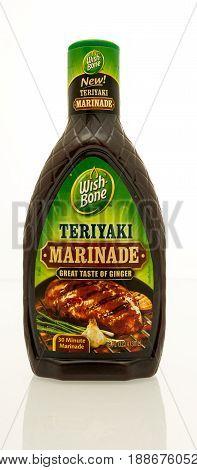 Winneconne WI - 16 May 2017: A bottle of Wish Bone teriyaki marinade an isolated background