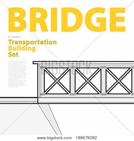 Outline set of vector train bridge in isometric perspective. Isolated industrial transportation building. Metallic architecture. Typography layout, railway bridge. Assembled bridge construction