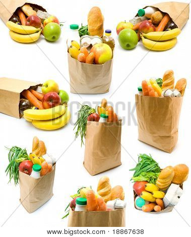 Collection of bags with food on white background