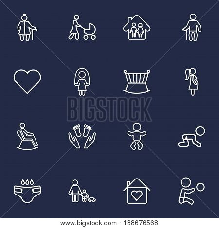 Set Of 16 Family Outline Icons Set.Collection Of Man In Armchair, Crawling Kid, Home And Other Elements.