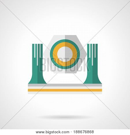 Abstract symbol of lighting moving head or spotlight. Light equipment for concert stage. Flat color style vector icon.