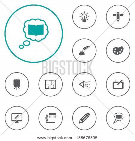 Set Of 12 Constructive Icons Set.Collection Of Artist, Pencil, Science And Other Elements.
