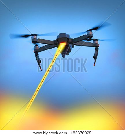 A black military drone with laser gun firing to target on a ground. New technologies for soldiers and terrorists. Four industrial revolution in war. 3D illustration with fictive robot on the sky,