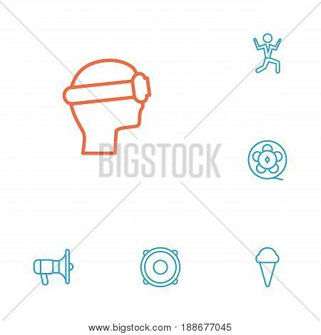 Set Of 6 Entertainment Outline Icons Set.Collection Of Vr Helmet, Dancing Man, Film Role And Other Elements.