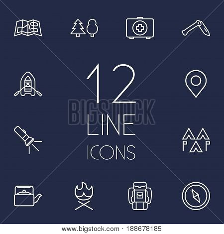 Set Of 12 Outdoor Outline Icons Set.Collection Of Encampment, Penknife, Place Pointer And Other Elements.